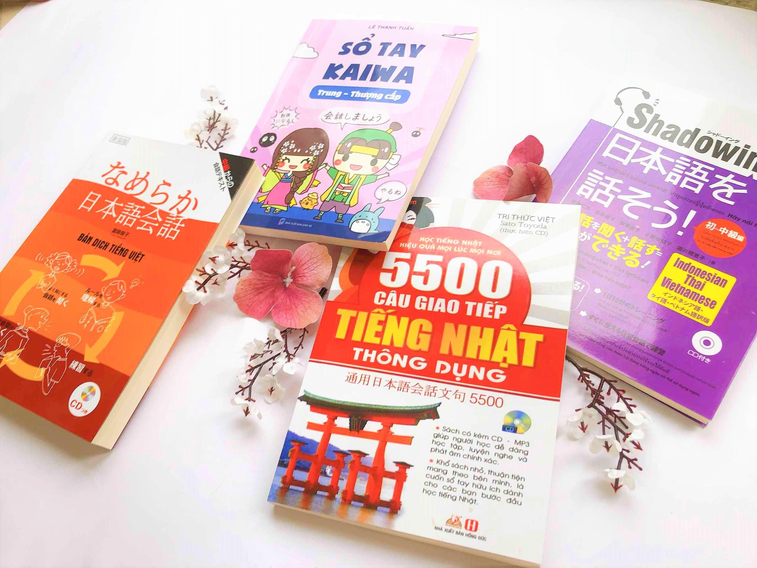 Combo Kaiwa Thực chiến Sổ tay Kaiwa trung thượng cấp + Namekara Nihongo Kaiwa + Shadowing tiếng Nhật sơ trung cấp + 5500 câu giao tiếp tiếng Nhật thông dụng (1)