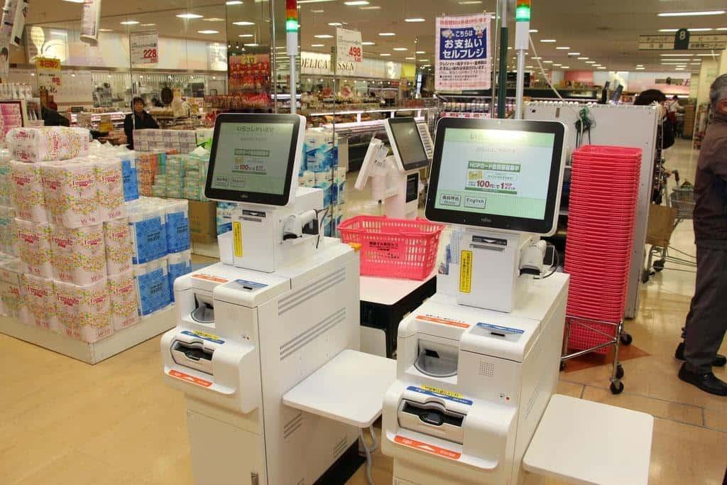 máy thanh toán ở siêu thị nhật bản